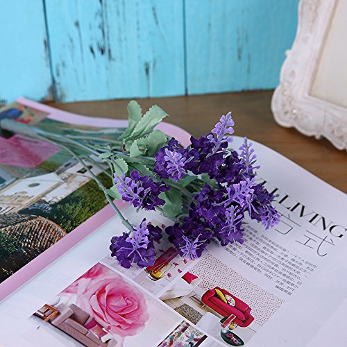 CLG-FLYArtificial flowers Lavender Flower Room Living Room Decorative Plastic Flowers Artificial Flowers,Deep Purple#308