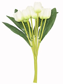 Fourwalls Beautiful Artificial Tulip Flower Bunch for Home décor (38 cm Tall, 9 Heads, White) Artificial Flowers at amazon
