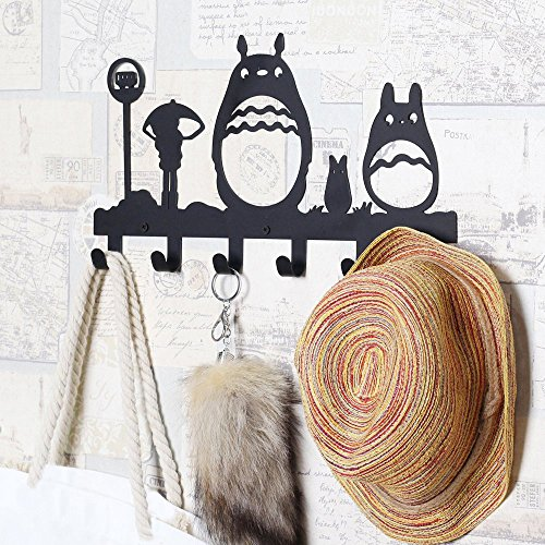 61Gb1tlCaWL - CoolPlus Coat Hooks Wall Mounted, Childrens Hangers, Metal Towel Racks for Bathroom, Dog Leash and Key Holder, Entryway Clothes and Hat Organizer, Totoro Pattern Sweet Black