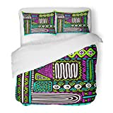 SanChic Duvet Cover Set Abstract African Pattern Mexican Folk Geometric in Aztec Style Tribal Ethnic Figure Applique Decorative Bedding Set Pillow Sham Twin Size