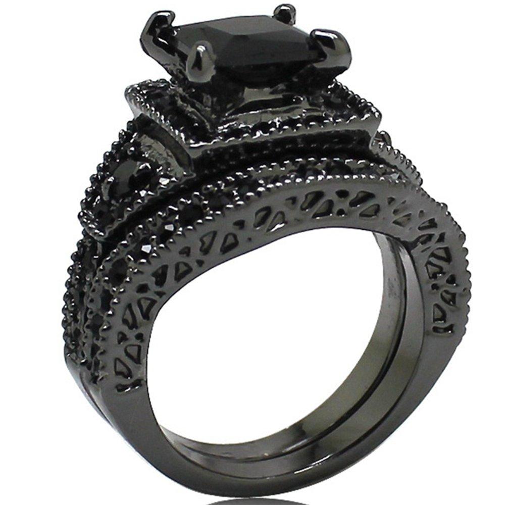 Jude Jewelers Balck Rhodium Princess Cut Wedding Engagement Ring Set (8) by Jude Jewelers (Image #2)