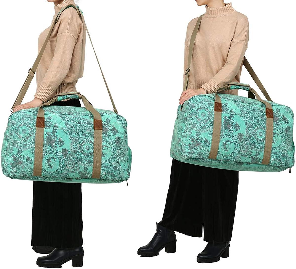 Kemys Canvas Duffle Bag Women Overnight Weekender Bags Oversized Ladies Weekend Carryon Duffel Large