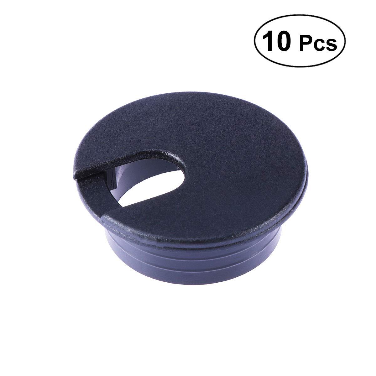 OUNONA 10PCS scrivania plastica scrivania cavo foro passacavo per scrivania da computer, gestione cavi 35mm (nero)