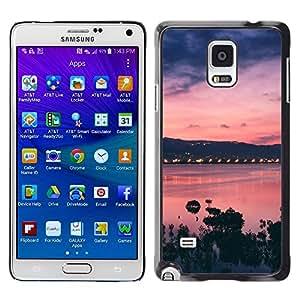 Be Good Phone Accessory // Dura Cáscara cubierta Protectora Caso Carcasa Funda de Protección para Samsung Galaxy Note 4 SM-N910 // Sunset Bay Nature Sea Ocean Purple