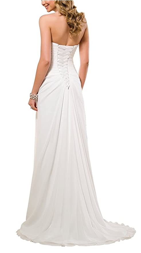 Vivebridal Womenu0027s A Line Chiffon With Pleat Lace Up Beach Wedding Dress At  Amazon Womenu0027s Clothing Store: