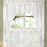 Cheap Old World Style Floral Heavy White Lace Kitchen Curtain Swag pair
