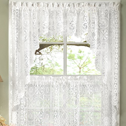 Old World Style Floral Heavy White Lace Kitchen Curtain Swag pair