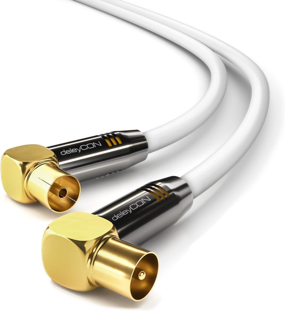 deleyCON 15m TV Cable de Antena HDTV Full HD 2X en Ángulo Cable Coaxial - Enchufe de TV (90° Grados) para Toma de TV (90° Grados) Tapón de Metal - ...