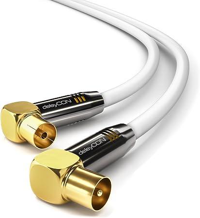 deleyCON 1m TV Cable de Antena HDTV Full HD 2X en Ángulo Cable Coaxial - Enchufe de TV (90° Grados) para Toma de TV (90° Grados) Tapón de Metal - Blanco