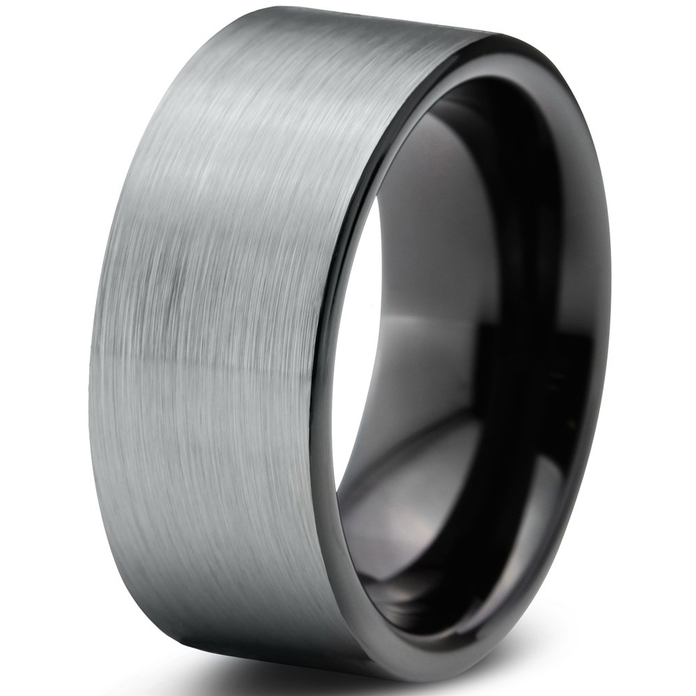 Tungsten Wedding Band Ring 9mm 8mm 6mm 4mm 12mm for Men Women Comfort Fit Black Pipe Cut Brushed Silver FREE Custom Laser Engraving Lifetime Guarantee