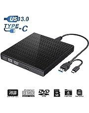 Externes DVD-CD-Laufwerk Typ C und USB 3.0 CD-DVD-RW-Lesegerät mit SD-TF-Kartenleser und USB-Stick-Anschluss tragbarer DVD-CD-RW-ROM-Brenner für Laptop-PC Windows 7/8/10 / Vista/XP/Mac OS (Black)