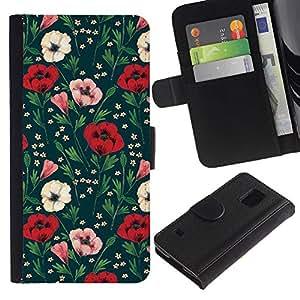 Paccase / Billetera de Cuero Caso del tirón Titular de la tarjeta Carcasa Funda para - Floral Flowers Green - Samsung Galaxy S5 V SM-G900