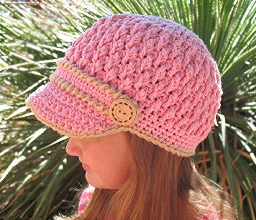 Crochet Buttoned Visor Hat Newsboy Cap Crocheted Pink Hat Unisex Christmas Gift Made in USA Free Shipping
