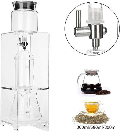 HRRH Máquina gotero Pot Ice Cold Brew Coffee, 350 ml / 580 ml / 800Ml Reutilizables de Vidrio de Filtro Herramientas de Agua Goteo Cafetera,780ml: Amazon.es: Hogar