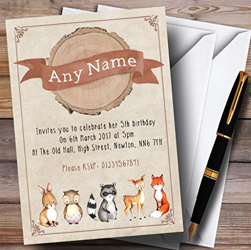 Woodland Baby Forest Animals Fox Childrens Birthday Party Invitations by The Card Zoo