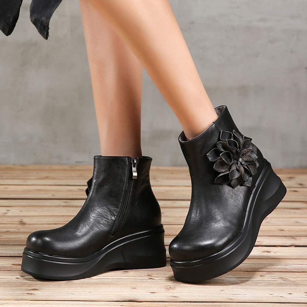YAN Mujer Botines Otoño Invierno Invierno Invierno Nueva Plataforma Botines Flor Vintage Botas de Cuero Zapatos de Mujer Mayor Zapatos Casuales (Color : Negro, tamaño : 38) 4f78f1