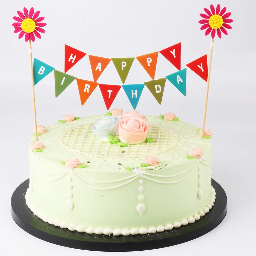 Amazon Lveud Red Sun Flower Happy Birthday Banner Cake Topper