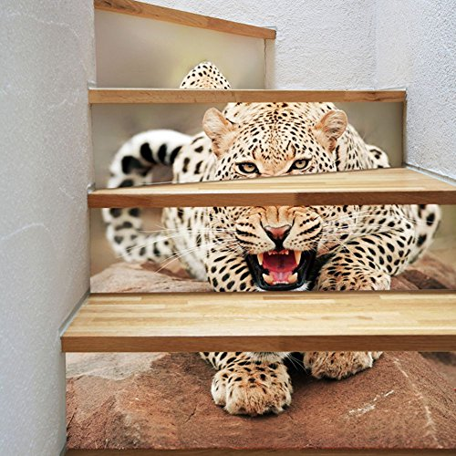 (U-Shark 3D Self-adhesive Removable Break Through the Wall Vinyl Stair/Step Stickers/Murals Art Decals Decorator (Angry Leopard ZB31(18x100cm x6 Sheets)))