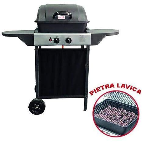 ke grill Barbacoa A Gas 2 Fuegos con Rejilla de Acero Inoxidable de Piedra volcánica de