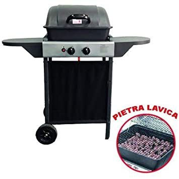 ke grill Barbacoa A Gas 2 Fuegos con Rejilla de Acero Inoxidable de Piedra volcánica de jardín Exterior pícnic: Amazon.es: Jardín