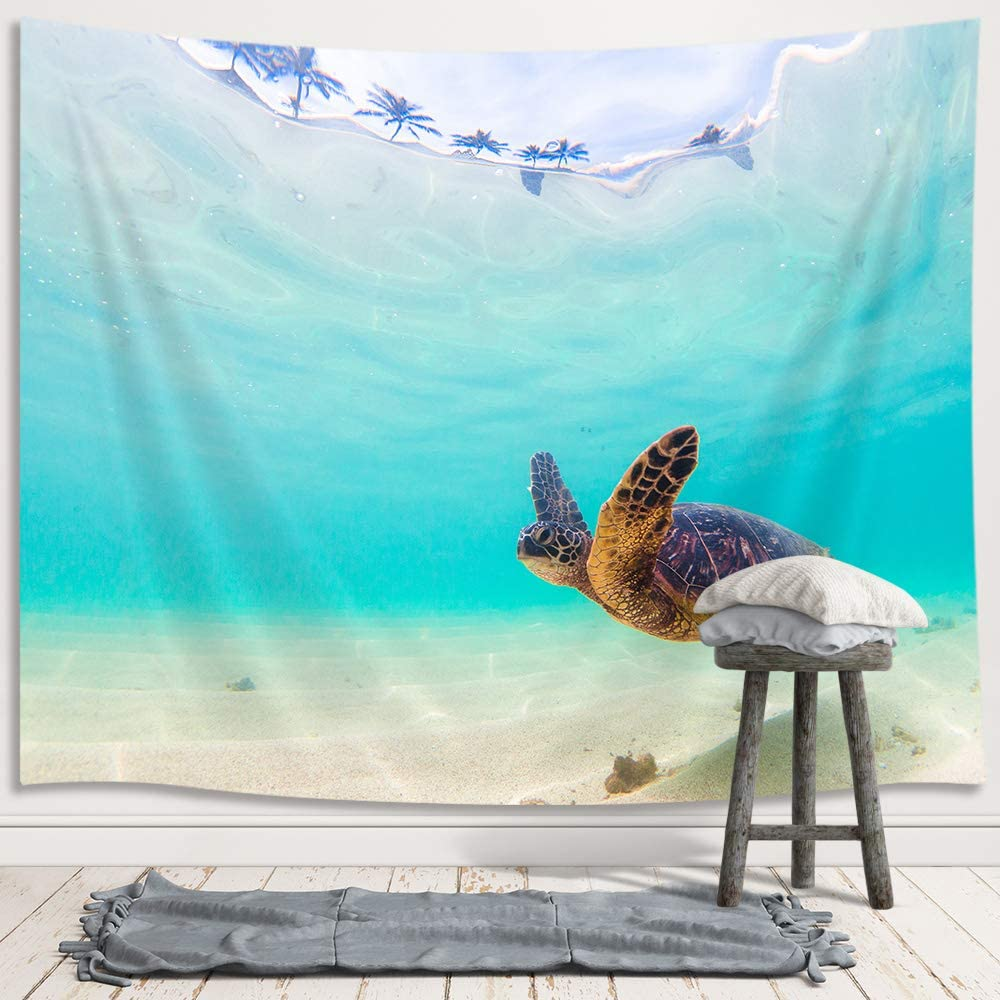 JAWO Sea Turtle Tapestry for Kids, Ocean Animal Hawaiian Small Tapestry Wall Hanging for Bedroom, Nature Blue Underwater Beach Blanket College Dorm Home Decor (60