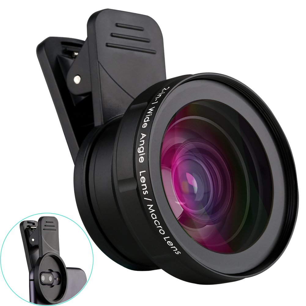 ATFUNG Camera Lens Kit for iPhone Samsung Android Smartphones (2 in 1), Black (MS-G06)