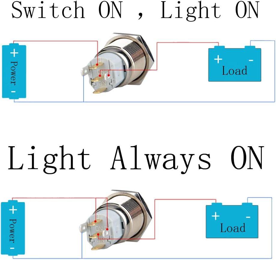 Etopar 12V 5A 19mm Car Auto Blue LED Light Lamp Fog Push Button Stainless Steel Metal Toggle Switch Socket Plug