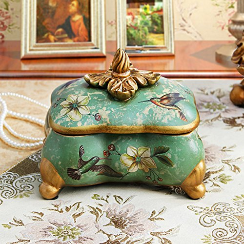 American vintage jewelry box rural flower ceramic jewelry box bedroom Dresser storage jar Storage Box decoration