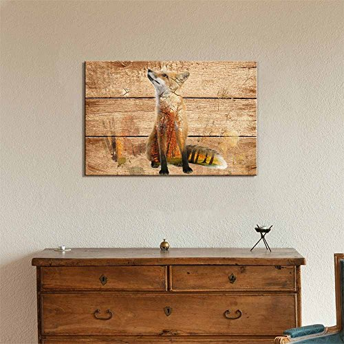 Double Exposure Rustic Fox in The Wild on Vintage Wood Background Wall Decor
