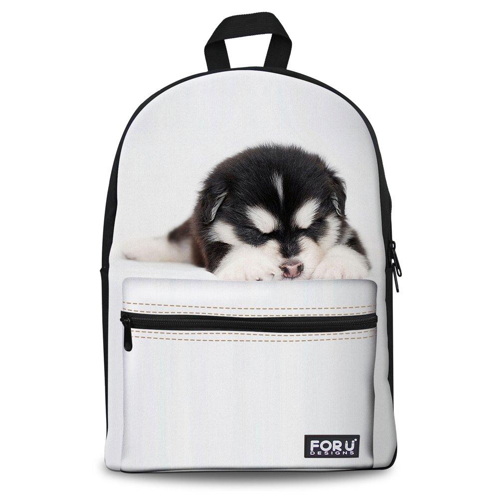 FOR U DESIGNS Cool White Sleepy Dog Animal Soft Cotton Canvas Bookbag Back Pack