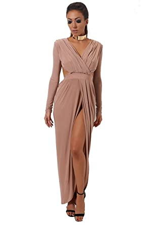 8df3550a2fb The Fashion Bible Ola Nude Goddess Maxi Dress 14  Amazon.co.uk  Clothing