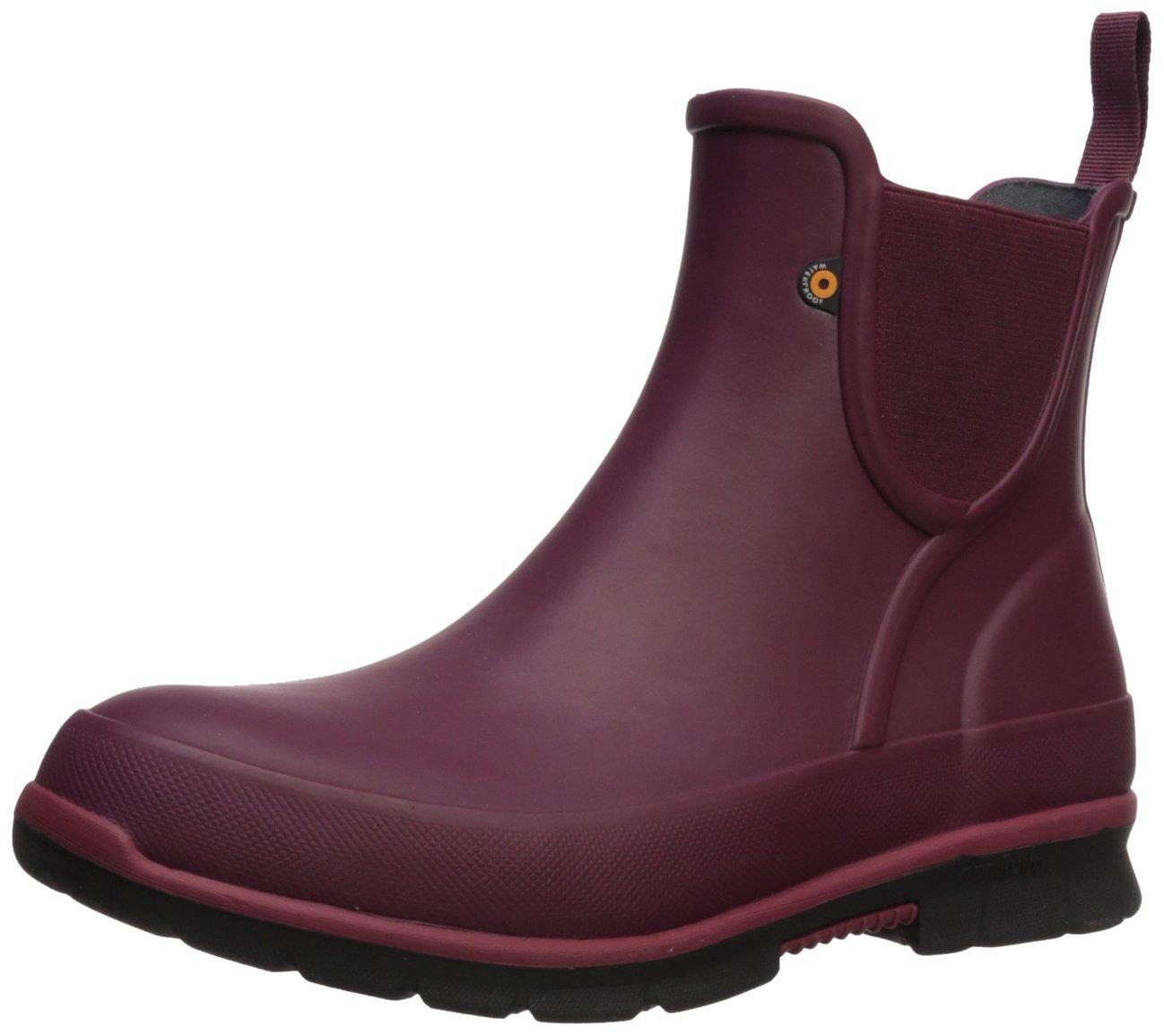 Bogs Women's Amanda Slip on Solid Rain Boot B073PJHJNQ 10 B(M) US|Burgundy