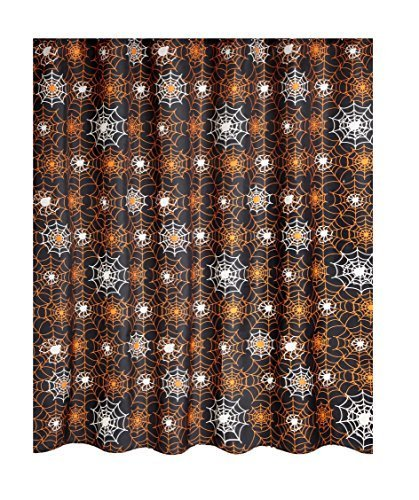 (Famous Home Fashions Glow in the Dark Halloween Shower Curtain Spider Web Black and)