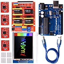 Kuman CNC Engraver Shield Expansion Board V3.0 + UNO R3 Board + 2.8 inch TFT Touch Screen + 4pcs A4988 Stepper Motor Driver With Heatsink Kits for Arduino GRBL Compatible K75-1