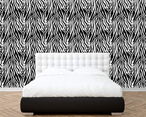 (Removable Peel and Stick Wallpaper, Abstract Zebra Stripe Texture Theme Style Wallpaper Mural, Removable for Interior Design, Decor you walls for any occasion (R119))