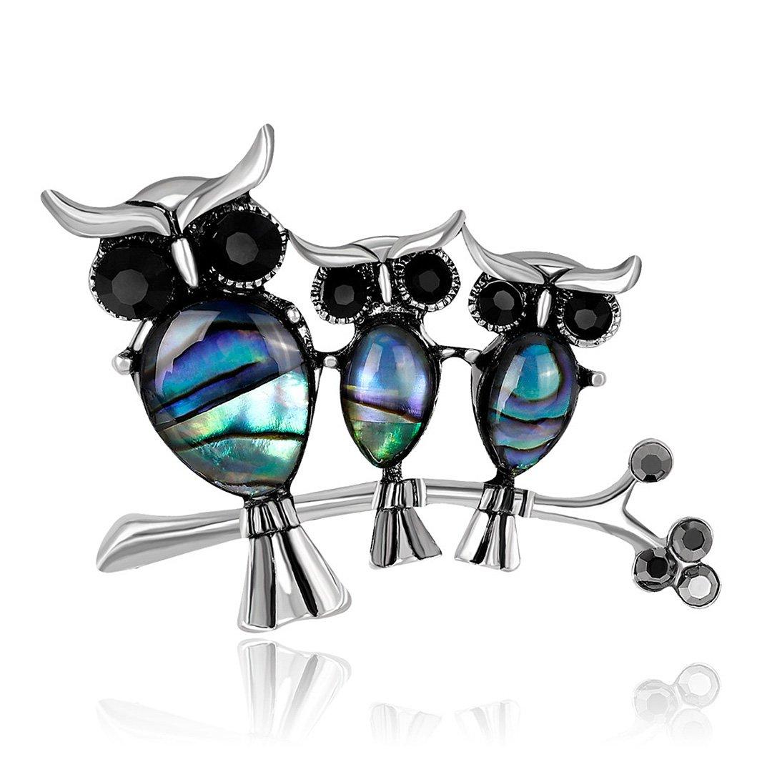 Gabrine Womens Girls Fashion Jewelry Rhinestone Crystal Insect Animal Enamel Owl Brooch Breastpin Sweater Pin Lapel Pin for Wedding Party Prom
