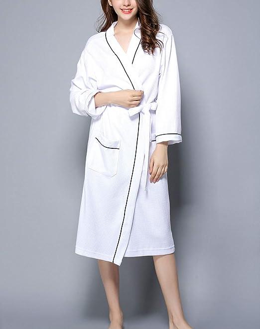 Albornoz para mujer Nueva bata de gofrado Bolsillos de parche/Cinturón de corbata Algodón Bata de baño ligera para hotel de spa Ropa de dormir Blanco Azul: Amazon.es: Hogar