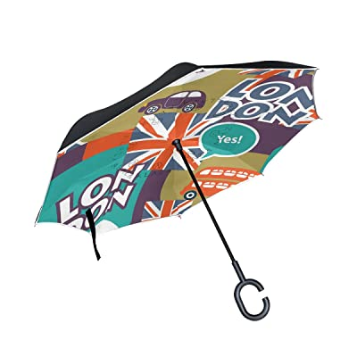 ALAZA Art British Union Jack Car Inverted Umbrella, Large Double Layer Outdoor Rain Sun Car Reversible Umbrella