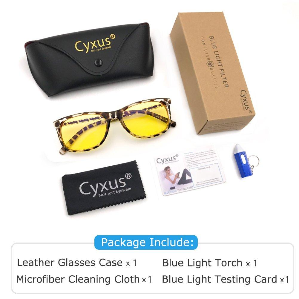 Cyxus Blue Light Filter [Sleep Better] UV Block Computer Eyewear Health Reading Glasses Classic Oval Yellow Lens 49mm, Unisex(Mens/Womens) Anti Fatigue Blocking Eye Strain (Tortoise Frame)