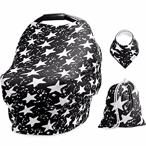 Baby Car Seat Cover and Nursing Canopy - Multi-Use, Breathable Breastfeeding Cover Scarf - Stroller, High Chair, Shopping Cart Cover for Boys and Girls- Included Baby Bib and Carry Bag