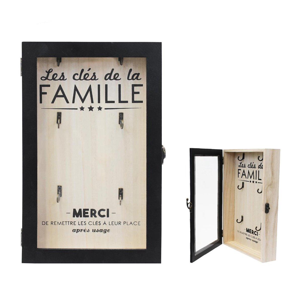 Les Tresors De Lily [Q0789] - Box yoghurt1008idxx wood 'Message' black beige (the family keywords)(6 hooks)- 30x19x5 cm (11.81''x7.48''x1.97'').