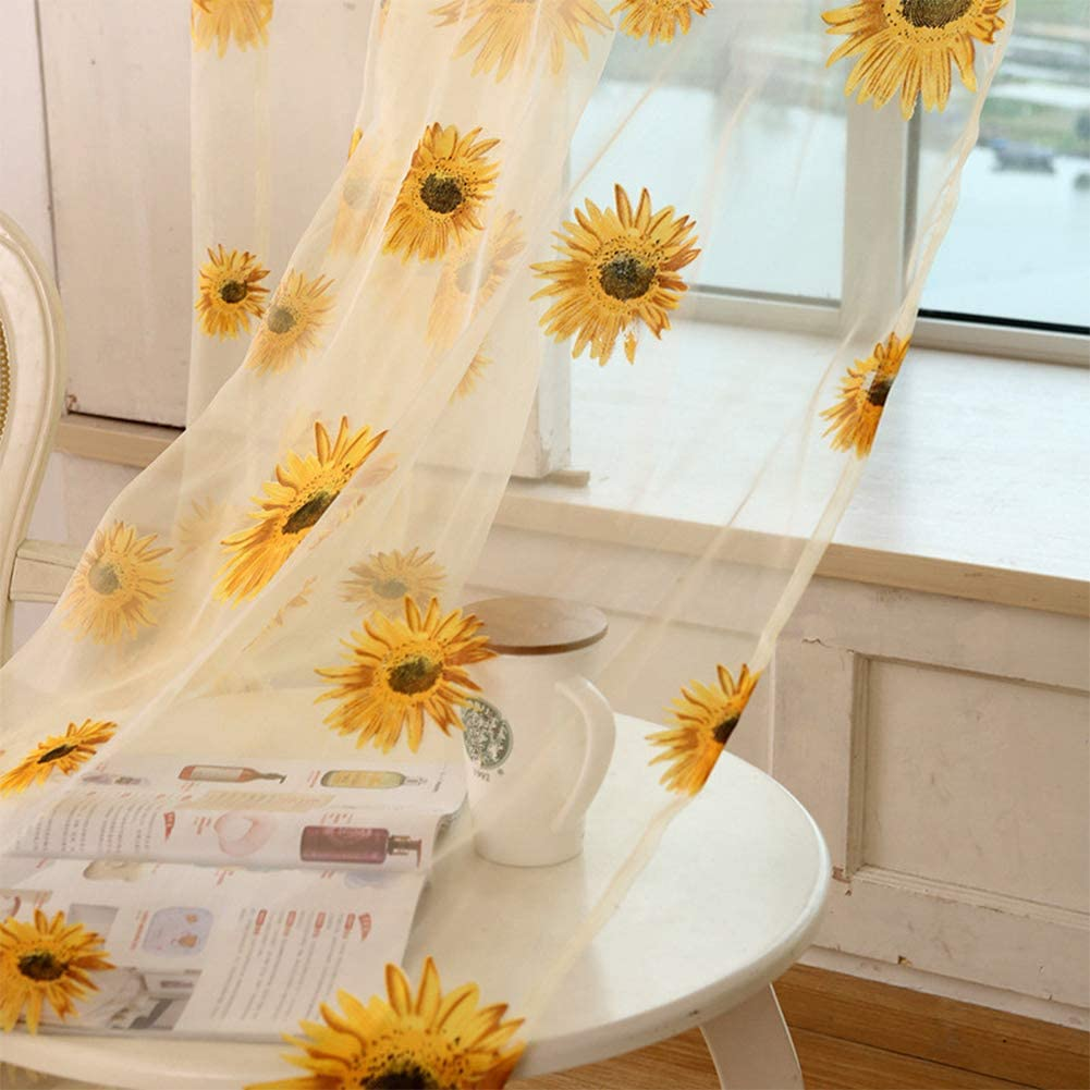 BeesClover Breathable Sunflower Printing Curtain for Living Room Balcony Decoration Yellow sun flower 1 2.7 m high
