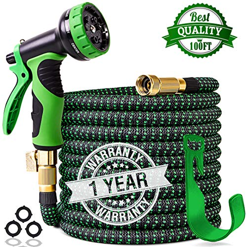 - 2019 Upgraded 100 ft Expandable Garden Hose,Leakproof Lightweight Garden Water Hose with Solid Brass Fittings,Extra Strength 3750D Durable Gardening Flexible Hose,Expanding Garden Hoses Spray Nozzle