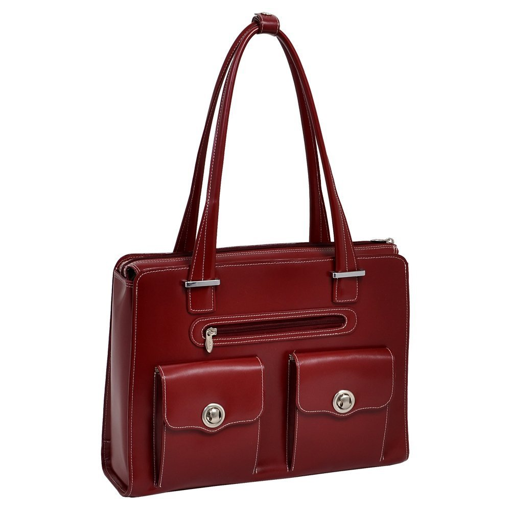 McKlein USA Verona Leather Laptop Handbag for Women Business Tote in Red