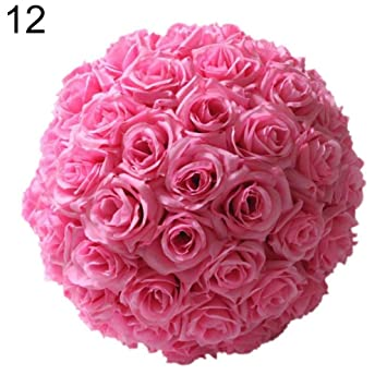 Amazon 8 Inch Wedding Artificial Rose Silk Flower Ball Hanging