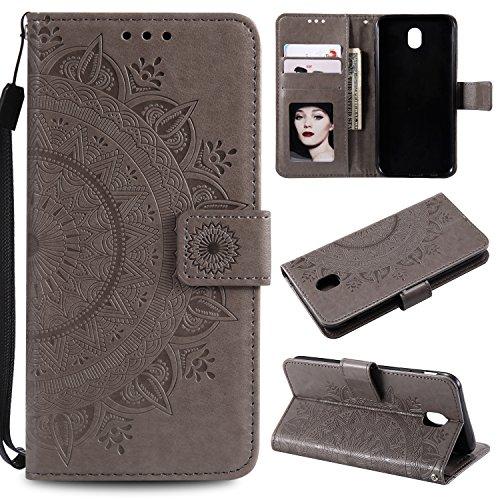 Samsung Galaxy J7 2017 / J730 Hülle Leder Totemblume, Lomogo Schutzhülle Brieftasche mit Kartenfach Klappbar Magnetverschluss Stoßfest Kratzfest Handyhülle Case für Samsung Galaxy J7 (2017) - LOHHA105 Grau
