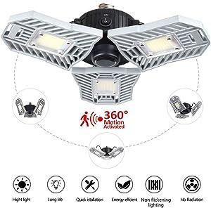 Motion Activated Light,60w E26 Deformable Led Garage lights,Lamp,ceiling light,Radar Home Lighting,Warehouse,Studio,Basement,Wine Cellar (Radar)