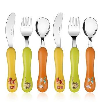 Lehoo Castle Cubiertos de dinosaurio 6 piezas, cucharas y tenedores para niños, Juego de cubiertos para niños pequeños, Set de cuchillos y tenedores ...