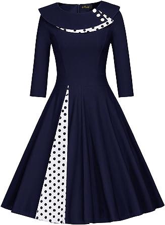 Misshow Robe Femme Vintage Annee 1950s Audrey Hepburn Courte Imprimee A Pois Manche 3 4 Avec Col Robe De Cocktail Soiree En Coton Amazon Fr Vetements Et Accessoires