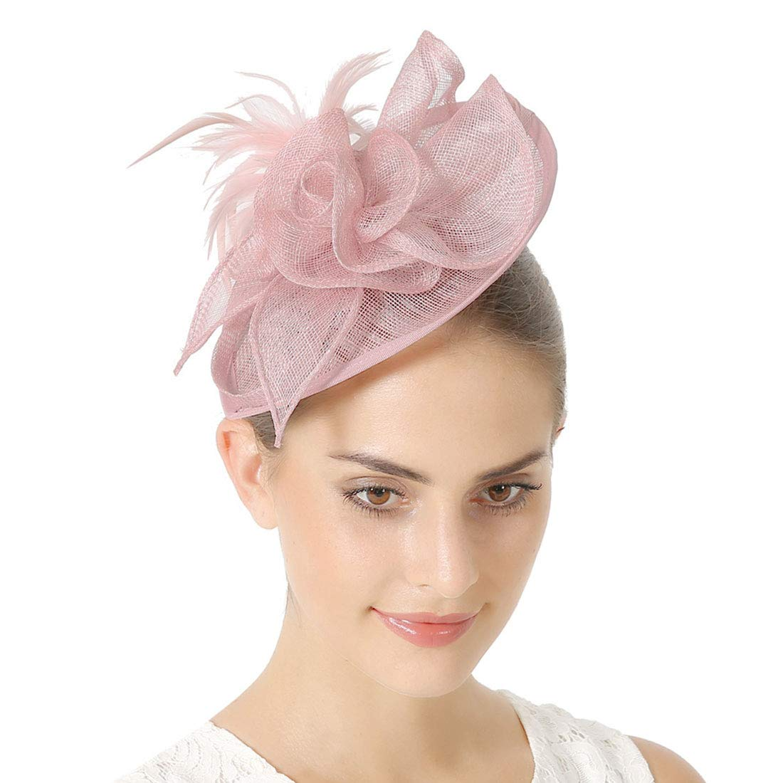 Sinamay Vintage Women Fascinators Derby Hat Feather with Headband Cocktail Headpiece for Tea Party Wedding (One Size, Pink) by JaosWish